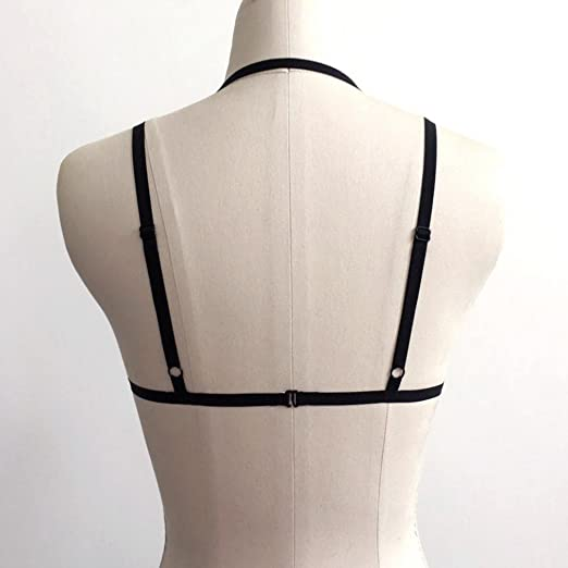 593239aaa6 Amazon.com  COMVIP Women s Cross Bandage Bra Sexy Cupless Cage Bustier Crop  Tops Black L  Clothing