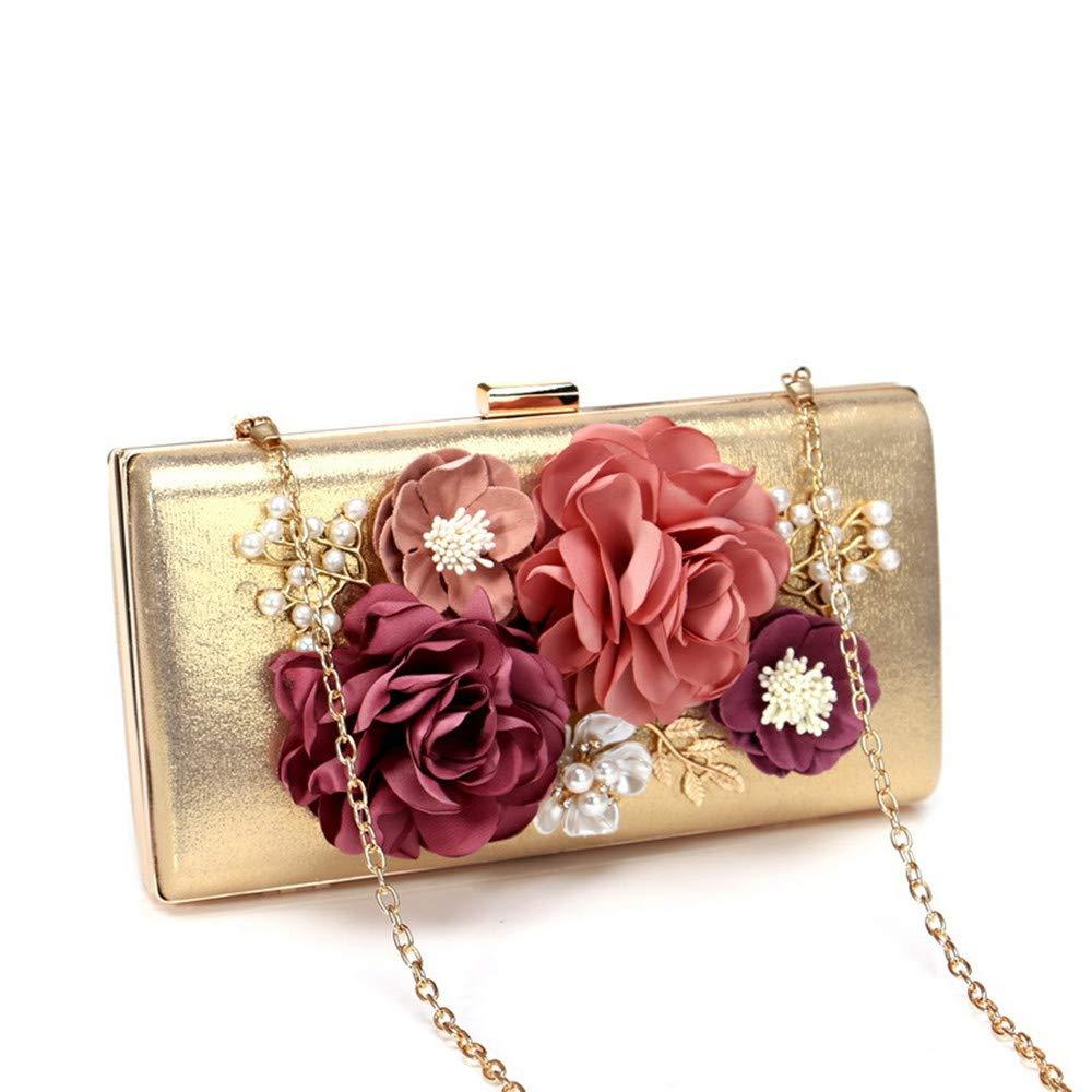 Color : Gold FeliciaJuan Suede Evening Bag Womens Satin Flower Evening Clutch Bags Pearl Beaded Evening Handbag for Prom Bride Wedding Hand Bag