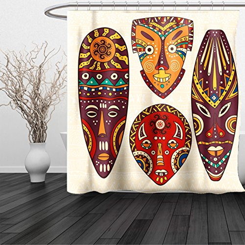 HAIXIA Shower Curtain Tiki Bar Mask Designs African Aborigine Art Patterns Cultural Ethnic Print Multicolor