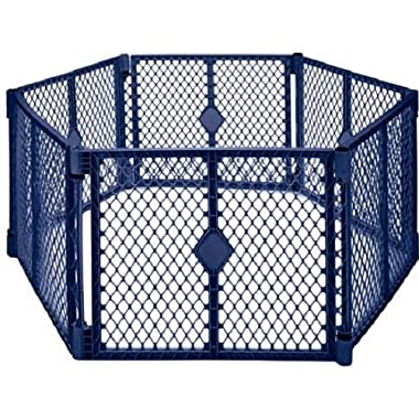 North States Superyard Classic 6-Panel to in 8-Panel Classic Extension Blue Baby Gate Play Yard