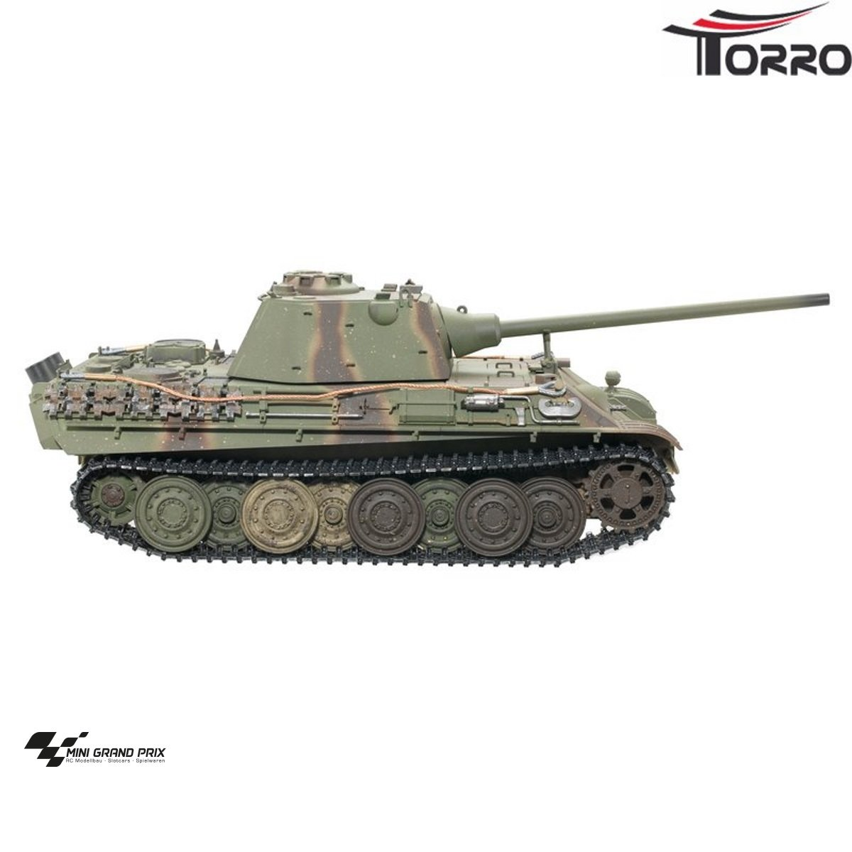 Torro 1:16 RC Panther F Profi Metallausführung IR Grün/TarnTORRO Panzer mit Holzkiste 1213879503