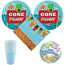 03 Little Fisherman Birthday Party Pack, 12-16 guests - cake plates, napkins, cups, balloon