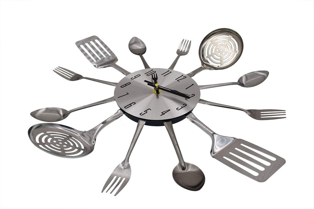 LONBUYS Kitchen Cutlery Wall Clock with Forks and Spoons for Home Decor Silent Non Ticking Quality Quartz Battery Operated for Home Office School