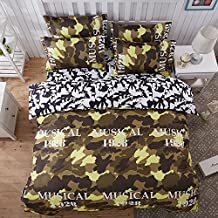 4pcs Camouflage Bedding Set No Comforter Duvet Cover Bed Sheet Pillowcase Twin Full Queen Size (Twin, Camouflage Musical)