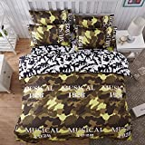 4pcs Camouflage Bedding Set Duvet Cover Bed Sheet Pillowcase Twin Full Queen Size (Full, Camouflage