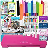 Silhouette Cameo 3 Glitter Pink Edition Bluetooth Bundle with 12x12 Sheets of Oracal 651 Vinyl, 24 Sketch Pens, Pixscan Mat, Guide Books, and More