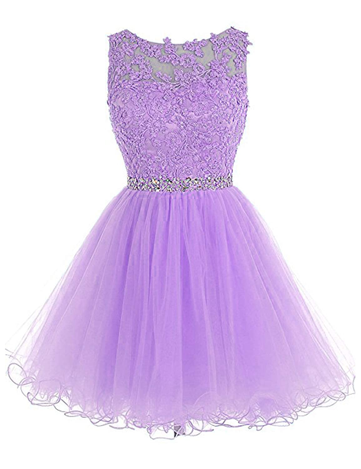 0 Lavender Vimans Women's Short Tulle Homecoming Dresses 2018 Knee Length Lace Prom Gowns Dress448