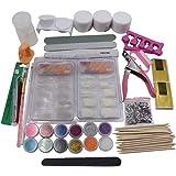 Acrylic Powder Glitter Nail Art Kit False Nail Tips Nail Art Decoration Tools (22pcs, Multicolor)