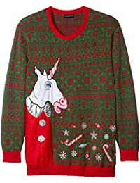 Men's Big and Tall Vomitting Unicorn Light up Ugly Christmas Sweater