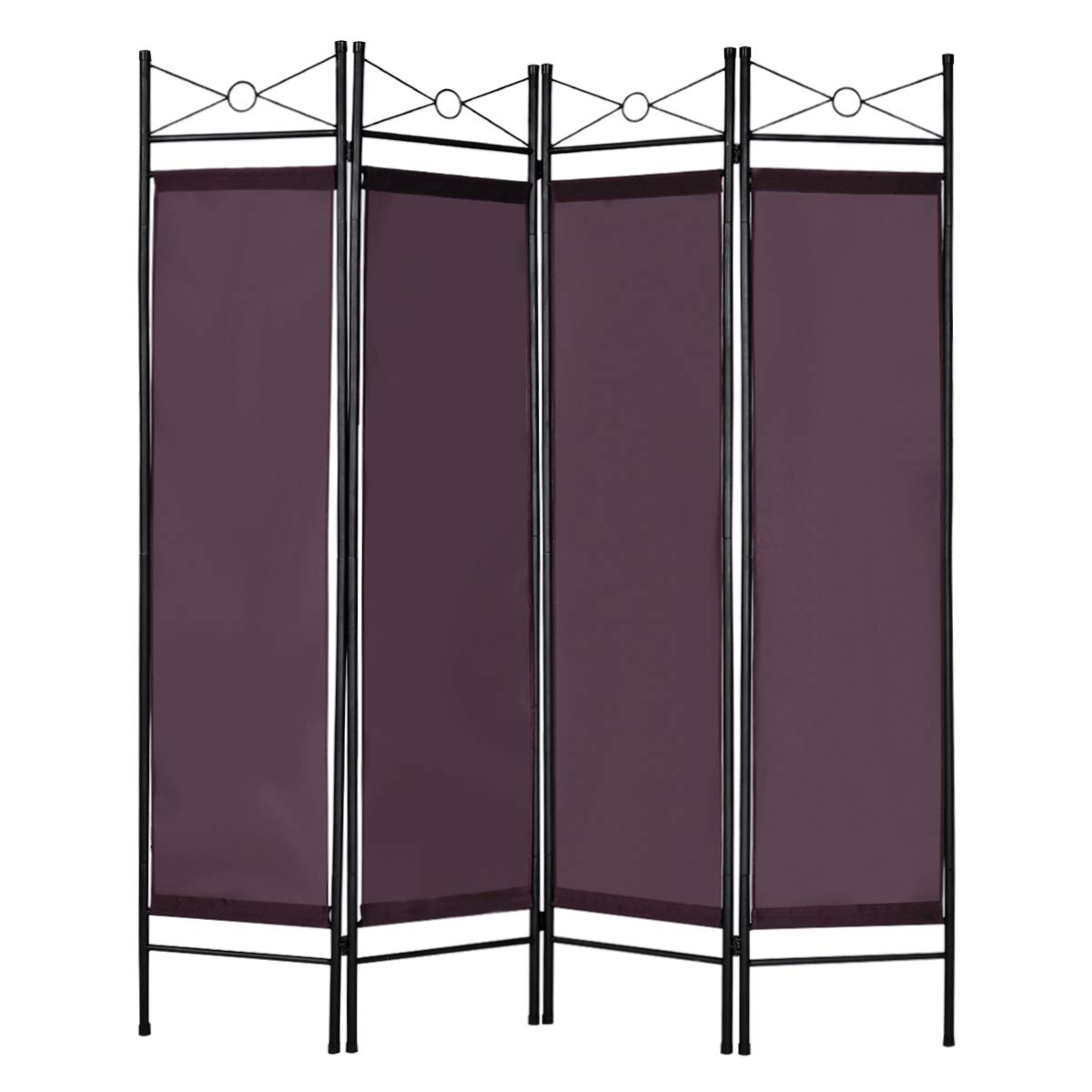 Giantex 4 Panel Room Divider Screens Steel Frame & Fabric Surface ...