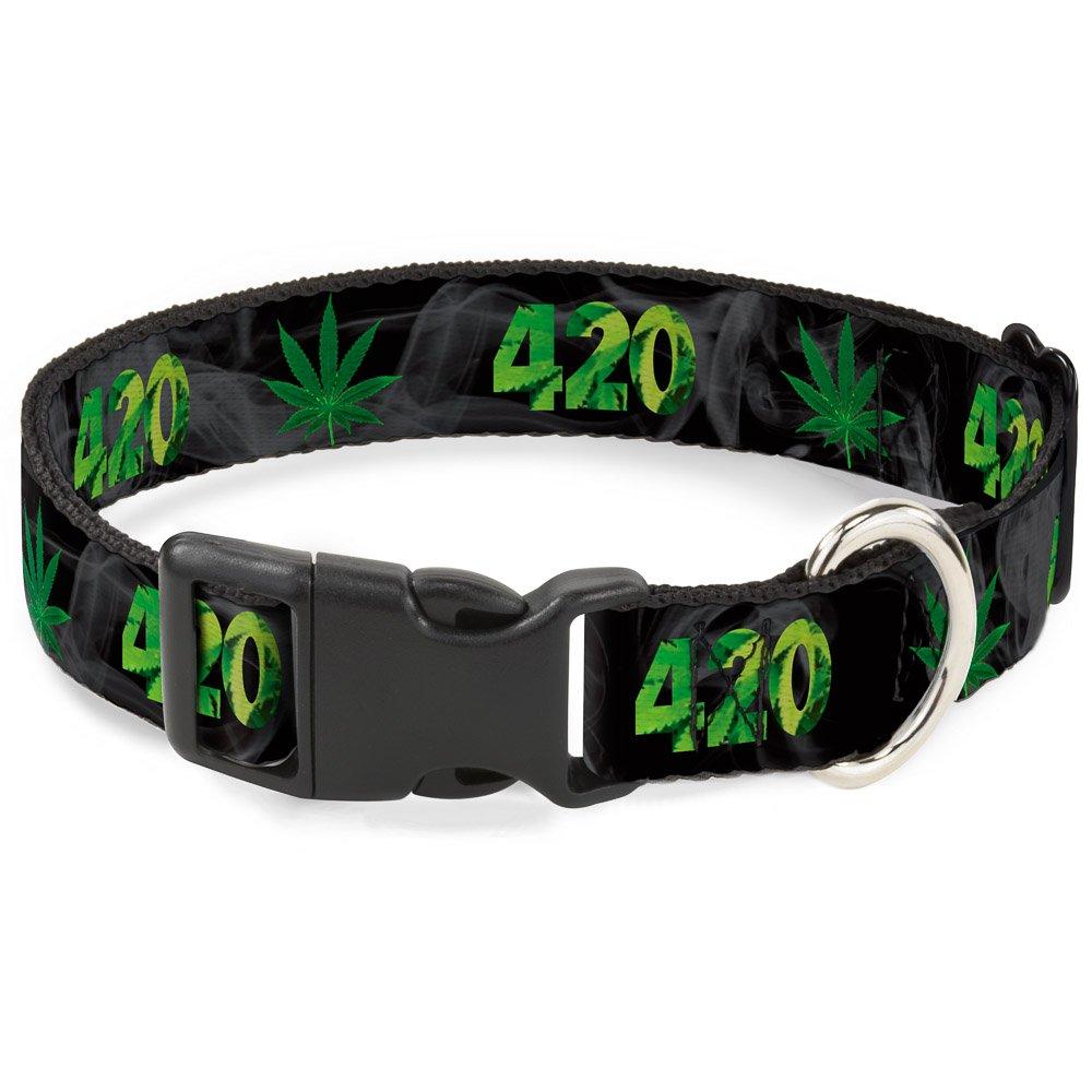 Buckle-Down PC-W30014-NM Dog Collar Plastic Clip Buckle, 1 2 x9 -15 , 420 Pot Leaf Black Smoke Green