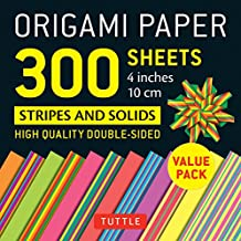"Origami Paper 300 sheets Stripes and Solids 4"" (10 cm): Tuttle Origami Paper: High-Quality Origami Sheets Printed with 12 Different Designs"