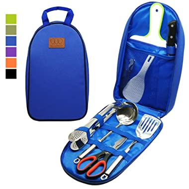 8Pcs Camping Cookware Kitchen Utensil Organizer Travel Accessories Set - Portable BBQ Camp Cookware Utensils Travel Kit with Water Resistant Case, Cutting Board, Rice Paddle, Tongs, Scissors, Knife