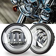 """TURBO SII Pair 4-1/2"""" 4.5inch LED Passing Light for Harley Davidson Fog Lamps Auxiliary Light 6000K White Halo Ring DRL Motorcycle Daymaker Projector Spot Driving Lamp Headlight White"""