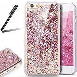 iPhone 6 Plus Glitter Case,iPhone 6S Plus Case,SKYMARS 3D Flowing Liquid Floating Luxury Bling Glitter Protective Transparent Hard Case Cover for iPhone 6 / 6S Plus Diamonds Diamonds Red