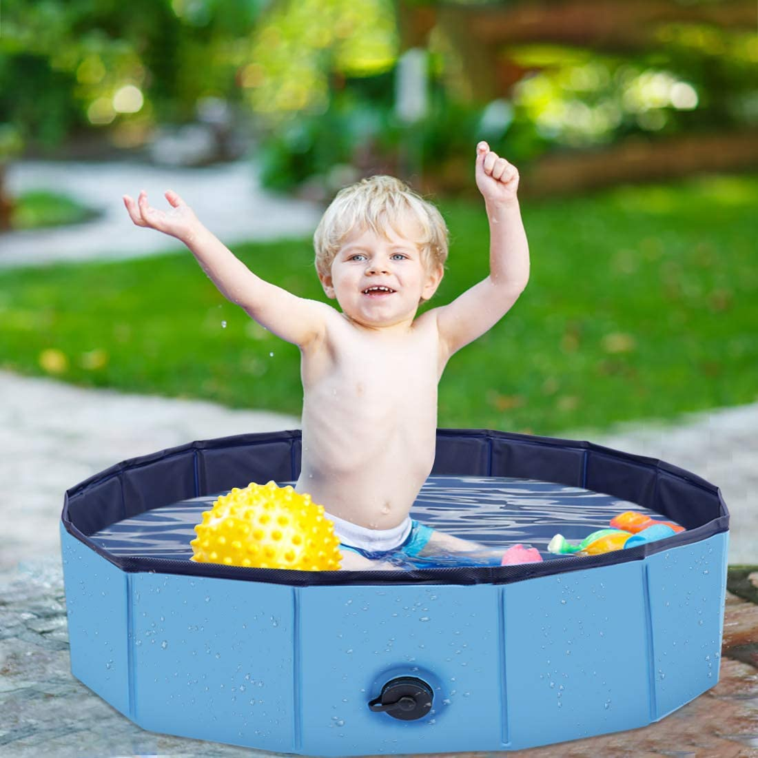 100x30CM Foldable Dogs Cats Padding Pool Kids Swimming Bathing Tub Kid Ball Water Ponds Pet Pool to Swim and Bath in Garden Patio Bathroom PVC Bathtub Collapsible Water Pond Pool /& Kiddie Pools