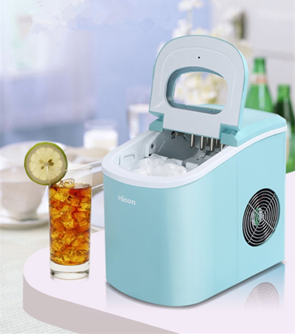 Jian Ya Na Stainless Steel Commercial Ice Maker Portable Ice Machine for Restaurant Household (Blue)