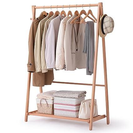 Coat Rack Nan Liang Simple Modern Solid Wood Simple Hanger Landing Bedroom Hanger Clothes Rack Brown, White, Natural Wood Multi Functional Clothing Rack (Color : Natural Wood, Size : Xl) by Coat Rack