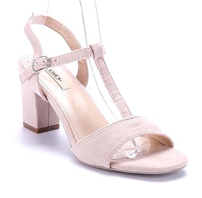 847fe02f851af3 Schuhtempel24 Damen Schuhe Sandaletten Sandalen beige Blockabsatz 8 cm