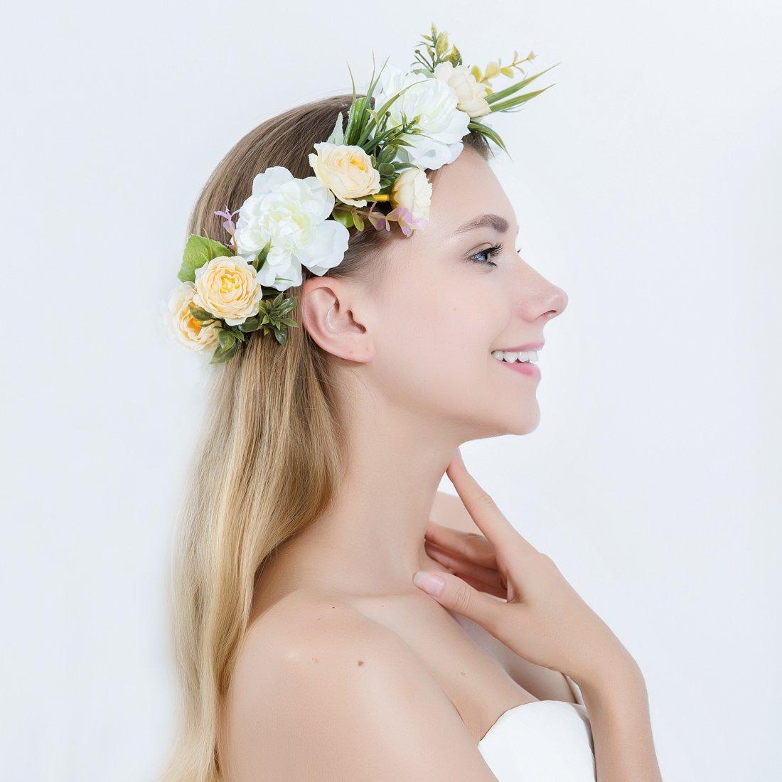 Bandeau Cheveux de Mariage Femme Couronne de Fleurs Floral Guirlande pour Festival Partie Voyage