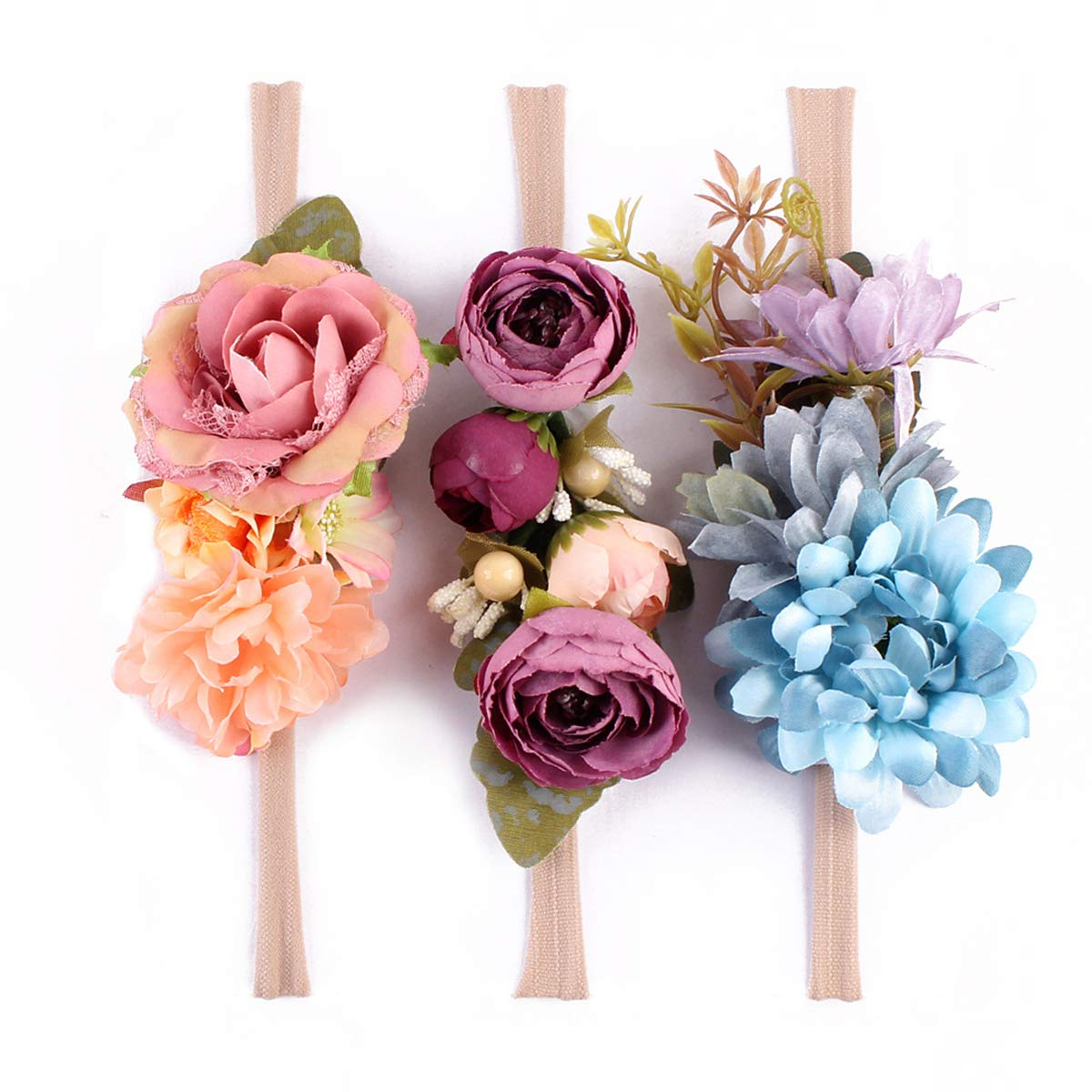Tieback Flower Crown Elastic Flower Headband Baby Girl Floral Crown Wreath Newborn Hair Accessories (3 Colors Pack - D)