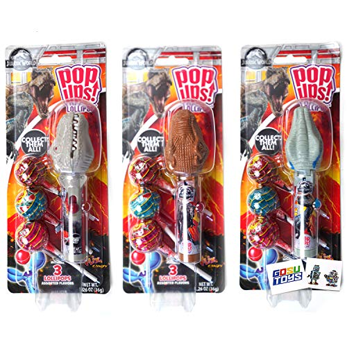 Jurassic World Dinosaur Pop Ups Case Holder (3 Pack) with Chupa Chups Lollipops and 2 Gosu Toys Stickers