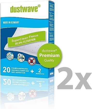 Super Pack – 40 dustwave Premium de bolsas para aspiradoras Rowenta – ro 3996/ro3996 – Aspiradora – Vehículo de bolsas