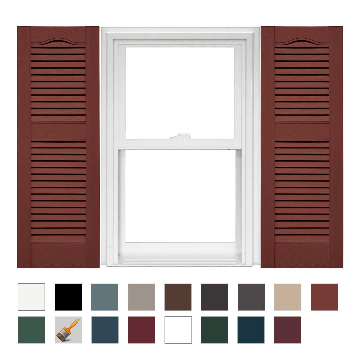 1 Pair 14.5 x 36 009 Federal Brown Mid America Cathedral Open Louver Vinyl Standard Shutter