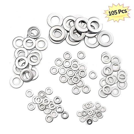 KKmoon Arandelas planas, 105 piezas Arandelas de acero ...