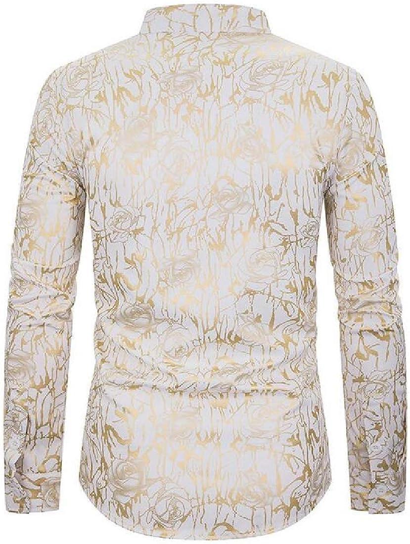 KLJR Men Stand Collar Slim Casual Business Long Sleeve Printed Button Up Dress Shirt