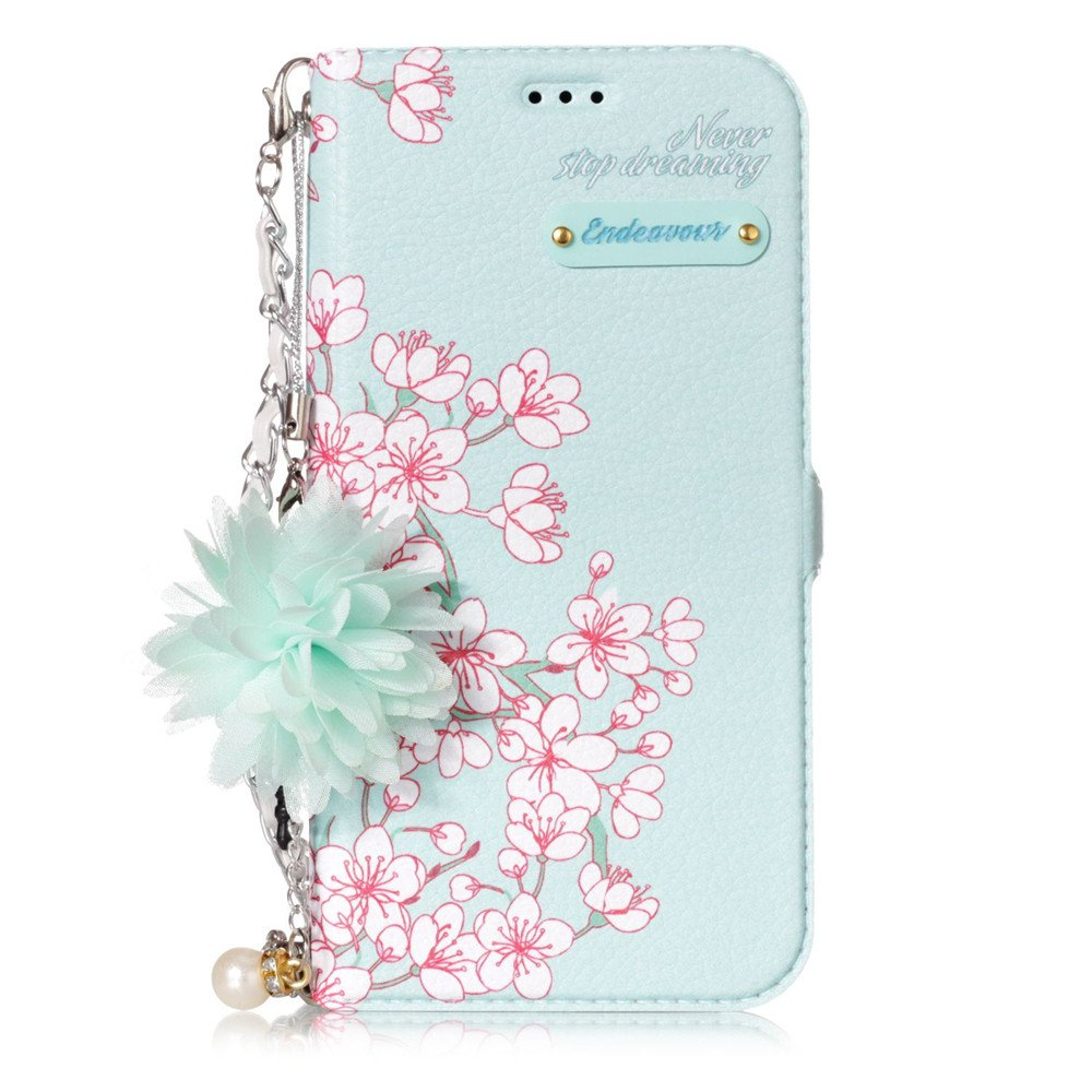 Amazon.com  IVY Fashion Flowers Wallet Case Galaxy J5 (7) Handbag With  Wrist Strap and Kickstand For Samsung Galaxy J5 SM-J530 2017 - Baby Green  Flowers  ... bd6145ebc810