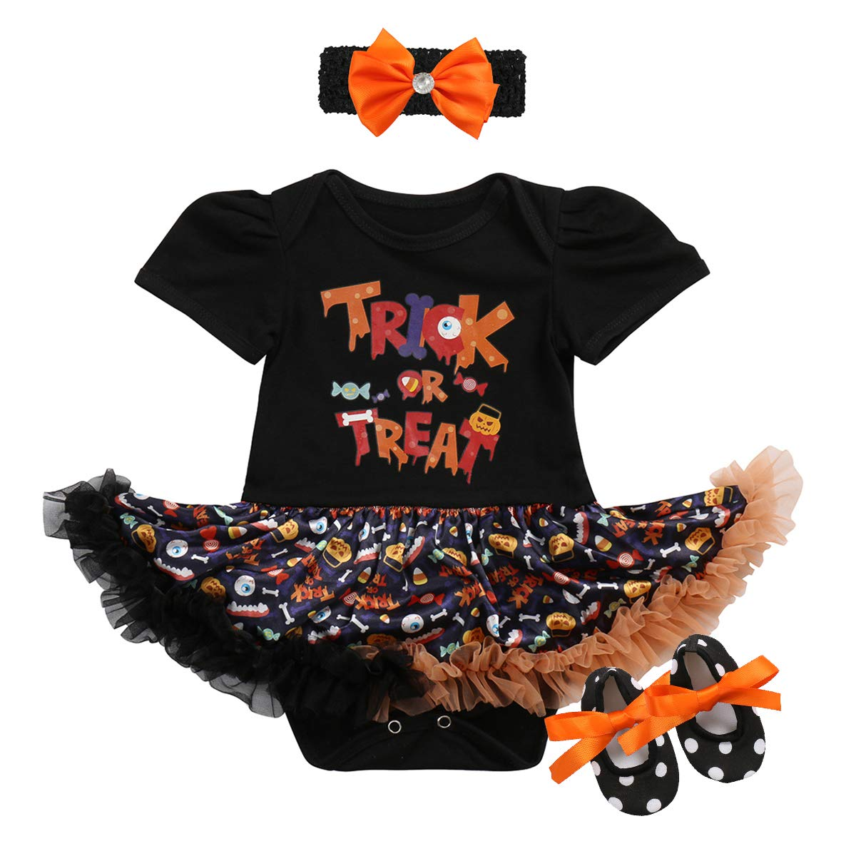 FYMNSI Newborn Infant Baby Girls My 1st Halloween Pumpkin Outfits Tutu Romper Dress with Bowknot Headband Shoes 3PCS Set Toddlers Photo Shoot Costume Cosplay Party Fancy Dress Up Clothes 0-18 Months