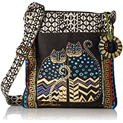 Laurel Burch Spotted Cats Crossbody Tote With Zipper Top