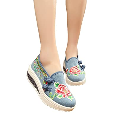 AvaCostume Womens National Flavor Embroidery Lightweight Platform Shook Shoes