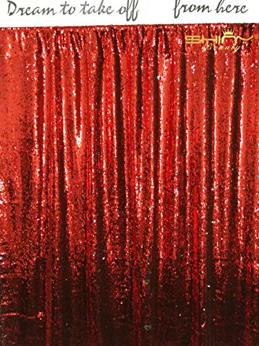 ShinyBeauty Mermaid-Sequin Curtain Backdrop-Red&Silver-9FTX9FT,Sparkyly Sequin Fabric Curtain Backdrop,Perfect for Party/Wedding/Event/Prom/Birthday by ShinyBeauty