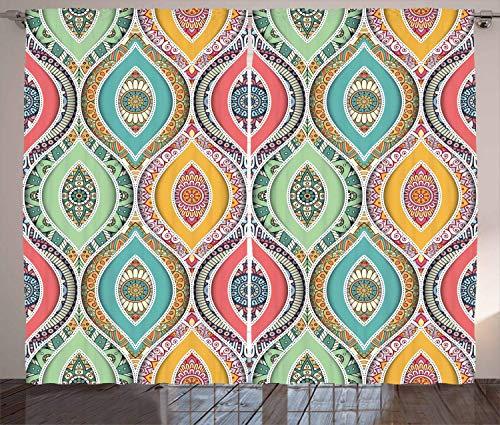 "HarMQ Traditional Shower Curtain Ethnic Ornamental Arabian Middle Eastern Ottoman Persian Bohemian Antique Motif Living Room Bedroom Window Drapes Set Coral Green 40""x70"""