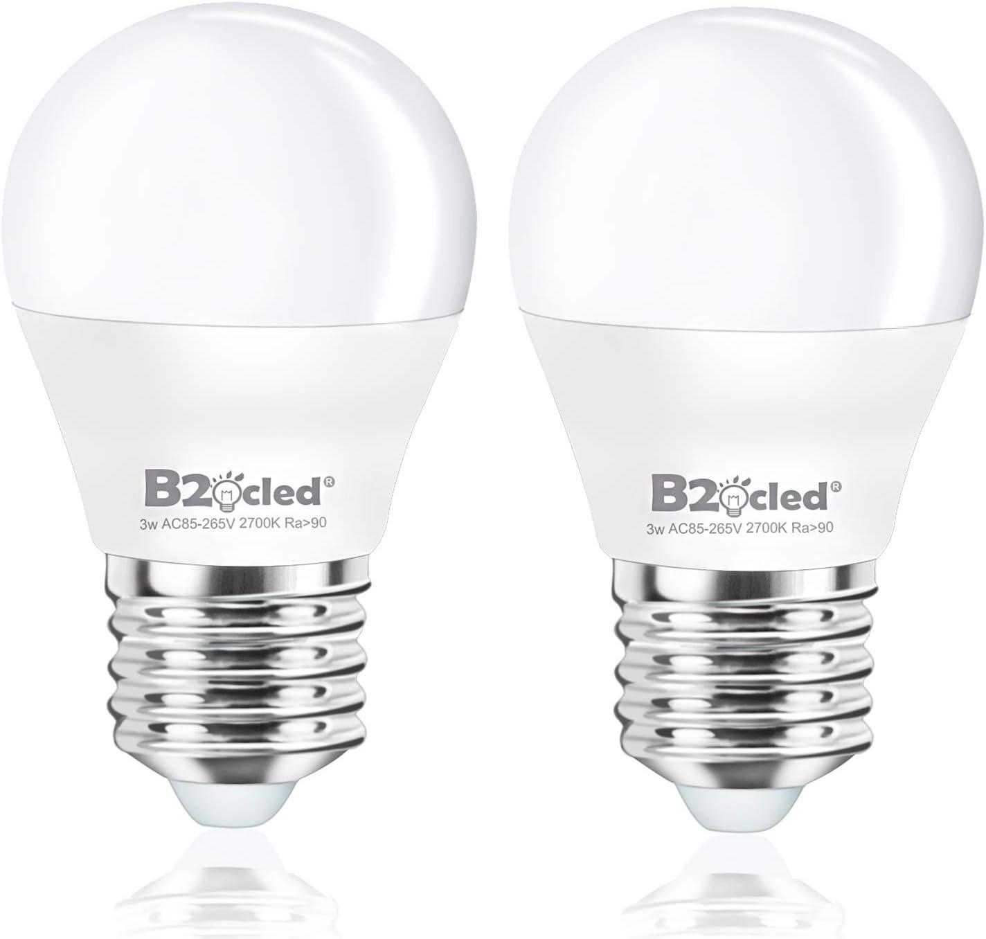 B2ocled Led Light Bulb 3w 25 Watt Equivalent A15 Lamp Warm White 2700k Cri90 Non Dimmable E26 E27 Base For Home Lighting Decorative 240 Lumen 2 Pack