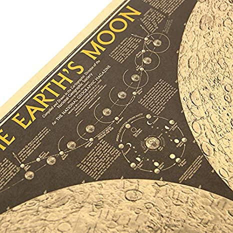 Amazon.com: Batop Large Vintage Retro Paper Earth Moon World Map Poster Wall Chart Home Decoration Wall Sticker (71x44.5cm): Posters & Prints