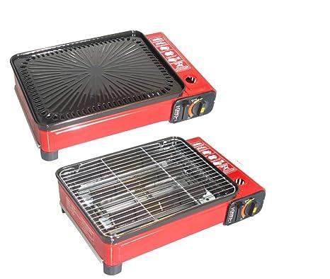 BBQ Barbacoa portátil de gas con Parrilla – incluye caja de transporte, Grill y accesorios