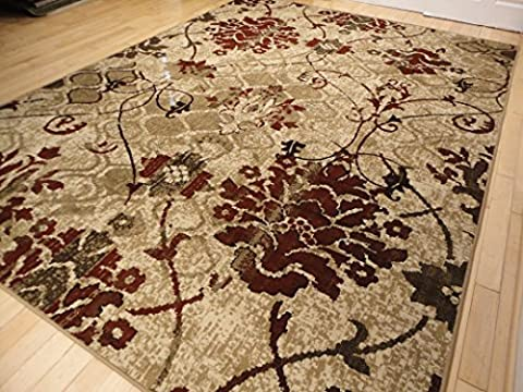 Modern Burgundy Rugs Living Dining Room Red Cream Beige Area Rugs 8x10 Rugs Clearance Contemporary Rugs Burgundy Cream Beige 8x11 (Soft Area Rug Sets)