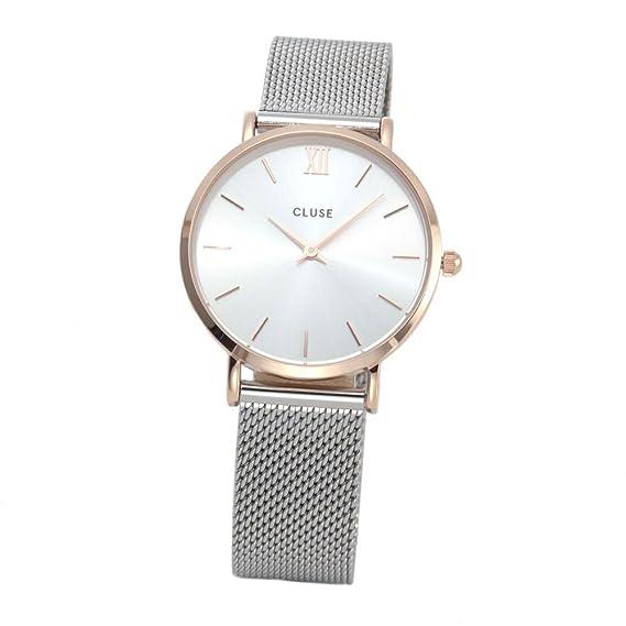 Cluse CL30025 - Reloj de cuarzo con correa de plata y malla de Minuit CL30025