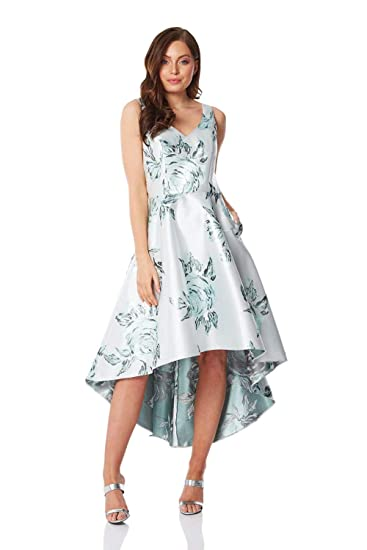 1bb587ad9ece Roman Originals Women Metallic Jacquard Floral Asymmetric Dress - Ladies  Rose Sleeveless Long Glam Christmas Party Gown Prom Masquerade Ball Evening  ...