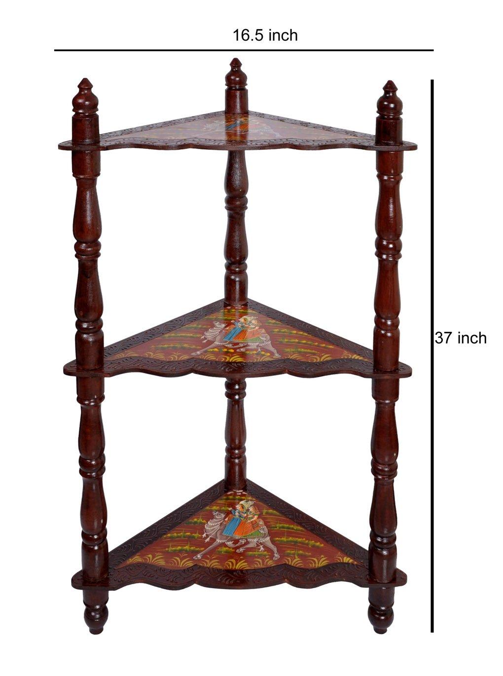 Wooden Brown Corner Shelf & Corner Bookcase / Standing Shelf Units 37 x 16.5 x 16.5 Inch by Lalhaveli