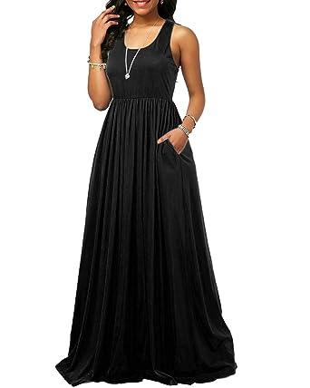2184ed4f4b06 Abravo Mujer Vestidos Casual de Color Sólido Verano Cuello Redondo ...