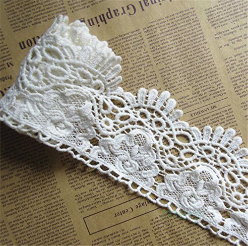 Crochet Ribbon Floral Applique - 2 Meters Cotton Crochet Lace Edge Trim Ribbon 9 cm Width Vintage Style Off White Ivory Edging Trimmings Fabric Embroidered Applique Sewing Craft Wedding Bridal Dress Embellishment DIY Clothes Decor