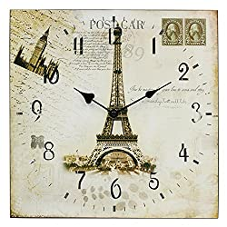 Hippih Silent Round Wall Clocks (12 Inches) Living Room Decorative Vintage / Country / French Style Wooden Clock (Square-Eiffel)