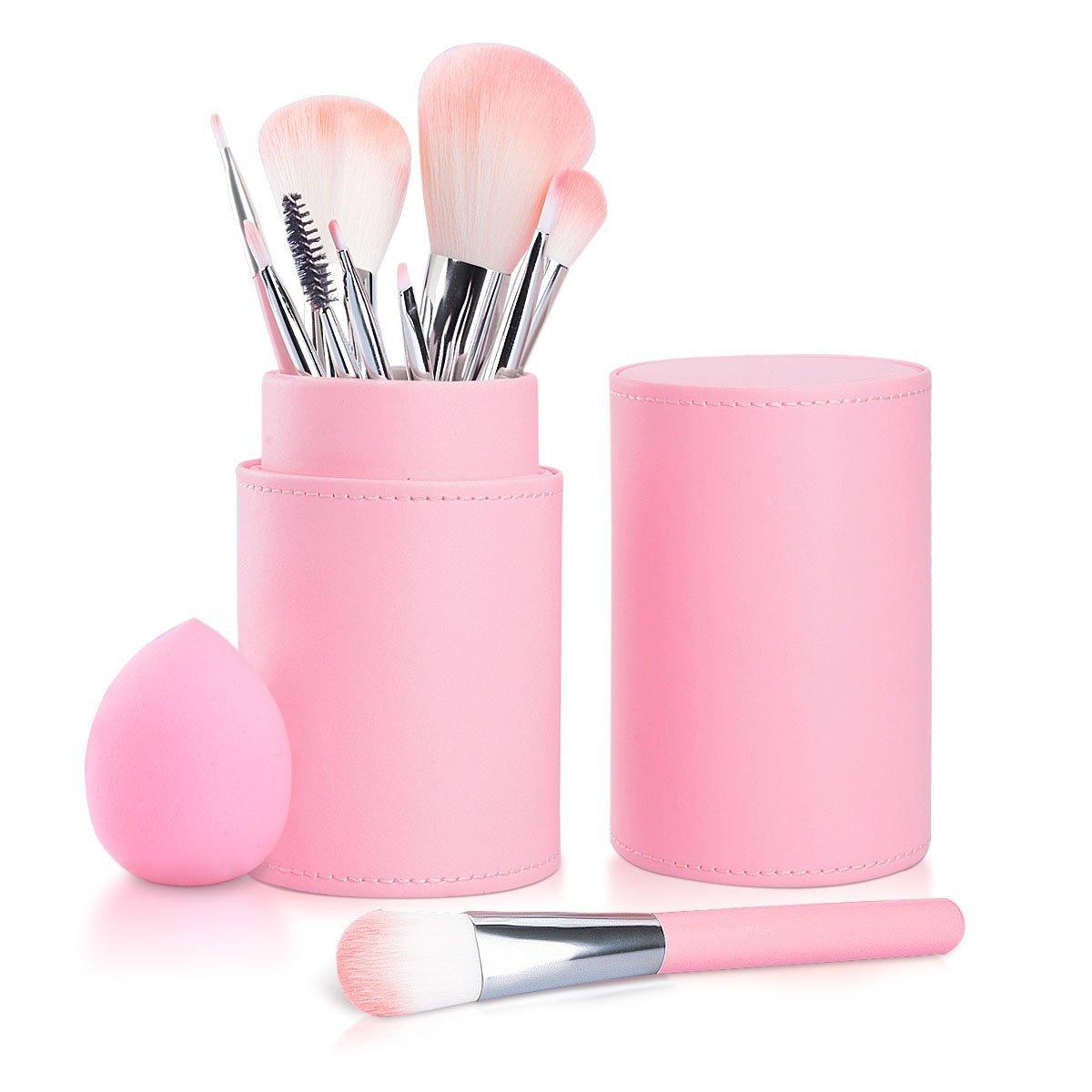 Set Brochas de Maquillaje 10pcs, Fypo Pinceles Cepillos Profesional Cosméticos de Manijas de Madera con una Esponja Maquillaje y una Bolsa de Cuero Rosa SAOYH SAOYH01-C0072