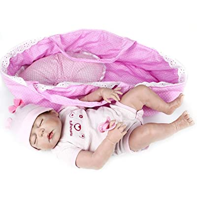 TERABITHIA 56cm Rare Alive Silicone Full Body Waterproof Reborn Baby Girl Dolls Look Real: Toys & Games