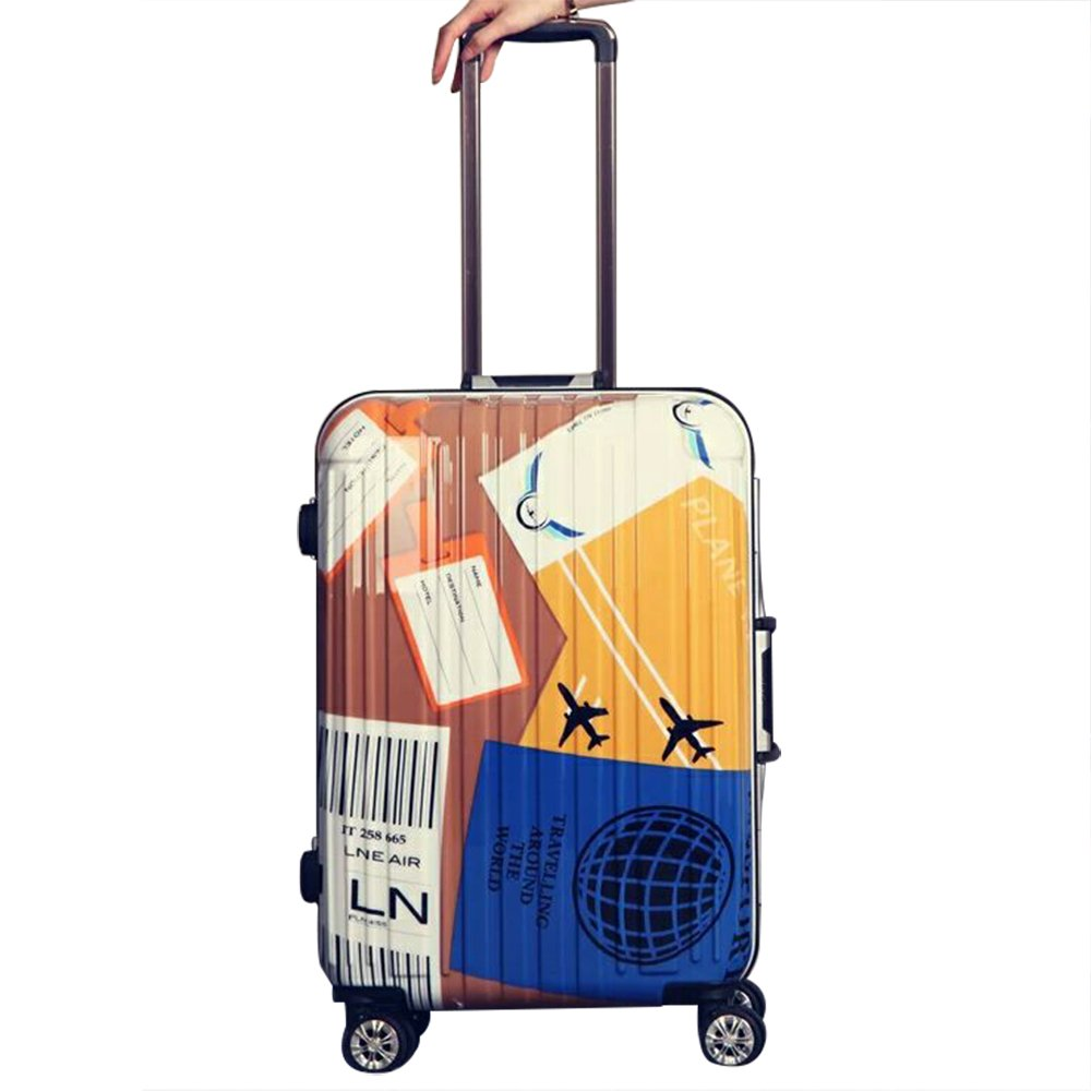 YX SHOP 超軽量ABSハードシェルトラベルトローリーの荷物のスーツケースを持ち歩く4つのホイールホルダーケース - 20/24インチ * B07GN7G6ZR  B 59X40X27CM