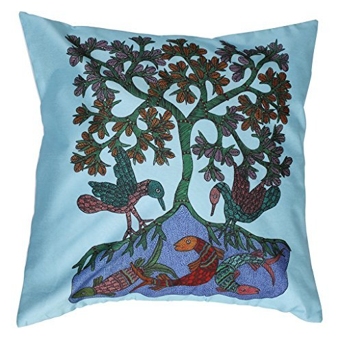 SouvNear Tree of Life Handmade 18x18 Inch Zippered Cushion Cover - Blue Square Pillowcase for Couch, Sofa, Ottoman Beds, Rocking Chairs, Home Decor & (Halloween Rocking Chair Covers)